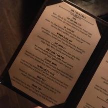 Bathtub cocktail menu