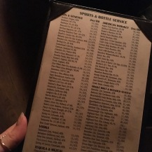 Bathtub gin menu
