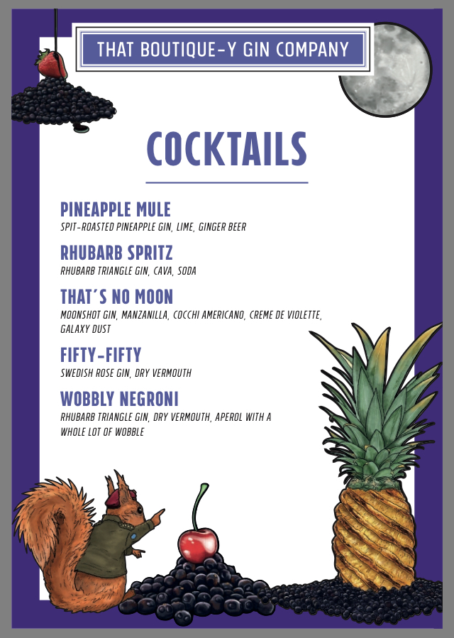 TBGC cocktail menu